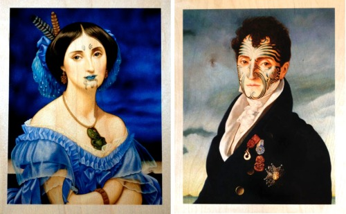 """""""Gone Native"""", prints on wood, 10 x 8 inches (each)"""