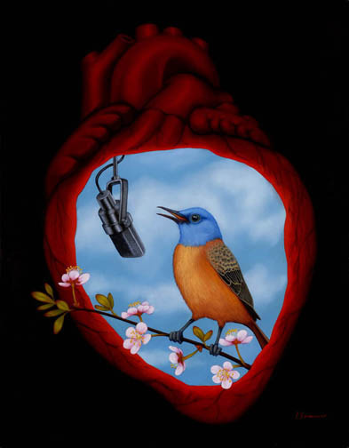 """Song In My Heart"" oil on wood"